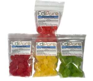 Edipure candy edibles are a fusion of fresh fruit flavors with a strong dose of THC in every piece. As a result, they are soft, chewy, and coated